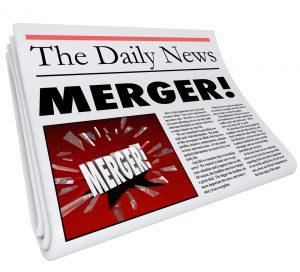 "Newspaper with headline ""Merger!"""